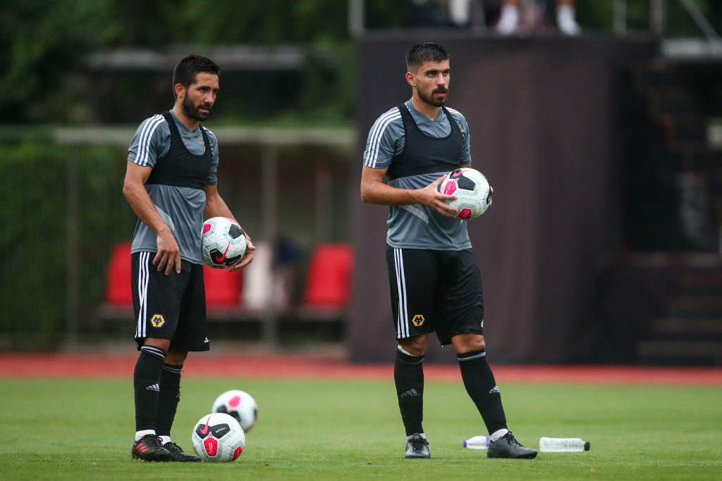Neves and Moutinho in Wolves training