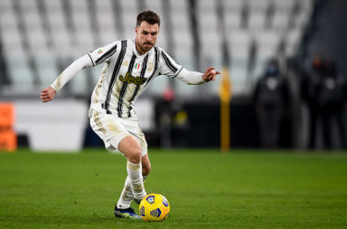 Aaron Ramsey of Juventus FC in action during the Coppa