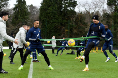 Raul Jimenez Visits his Teammates during a Wolverhampton Wanderers Training Session