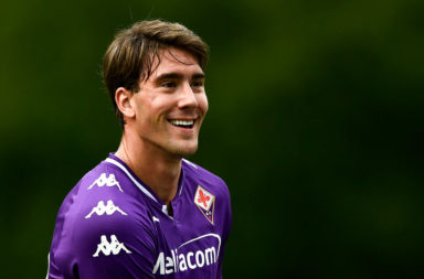 Dusan Vlahovic of ACF Fiorentina smiles during the pre-