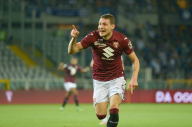 Andrea Belotti of Torino FC celebrates after the goal of 1-1